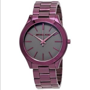 New authentic MK slim Runaway watch plum